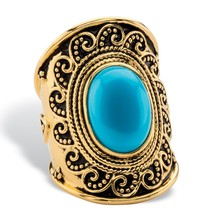 PalmBeach Jewelry Simulated Turquoise Antiqued 18k GP .925 Silver Boho Ring - $30.82