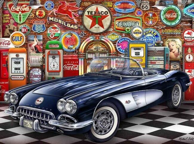1958 Navy Blue and White Corvette Garage by Michael Fishel Art Metal Sign