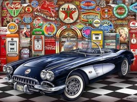 1958 Navy Blue and White Corvette Garage by Michael Fishel Art Metal Sign - $29.95