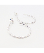 Slim Twist Hoop Earrings - Fine 925 Sterling Silver Earrings. - $46.70