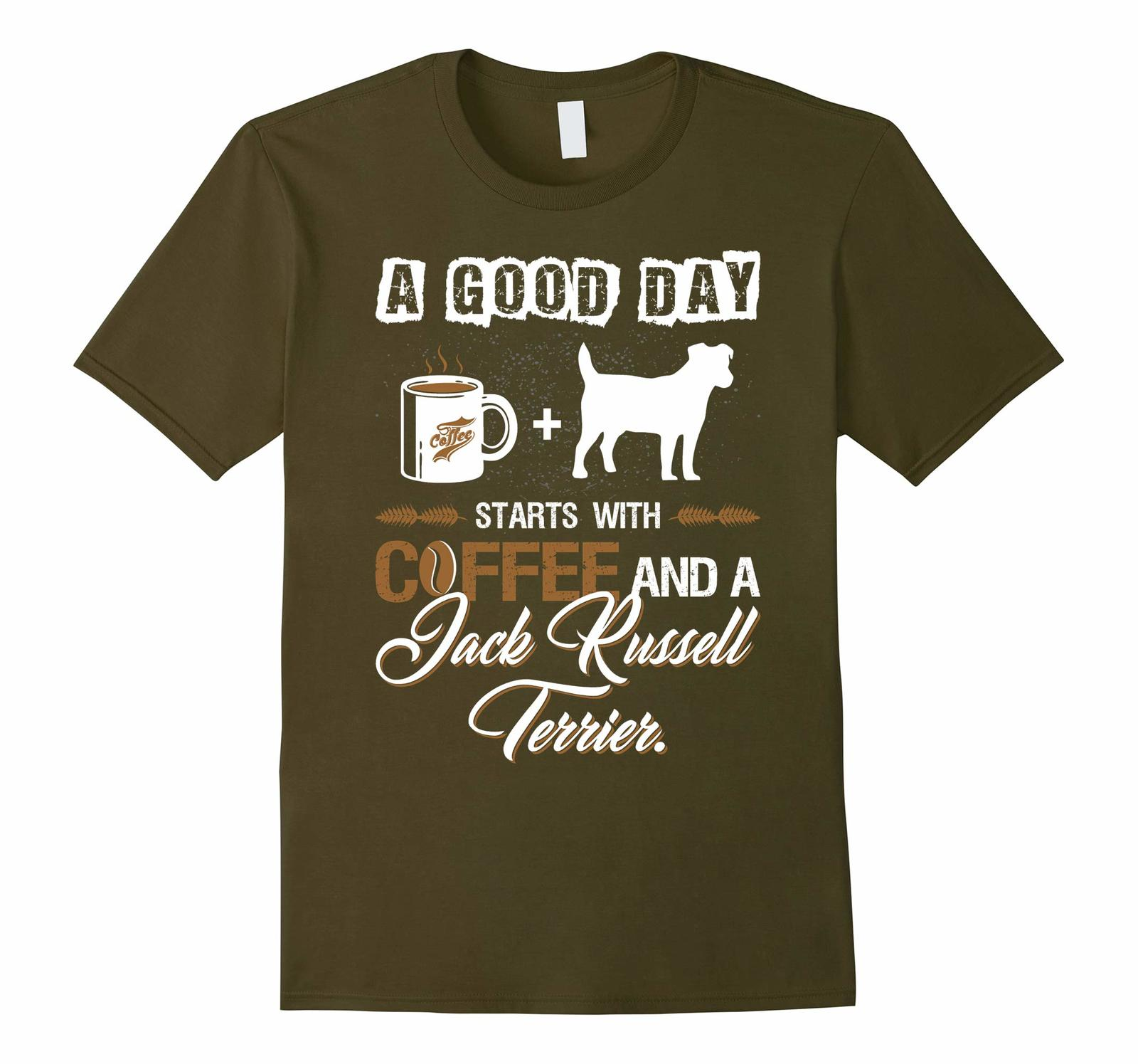 New Shirts - Good Day Starts With Coffee Jack Russell Terrier Dog Tshirt Men