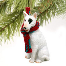 BULL TERRIER WHITE DOG CHRISTMAS ORNAMENT HOLIDAY XMAS Figurine Scarf  gift - $9.50