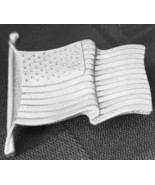 Longaberger Tie On Lapel Pin American Old Glory Flag Basket Pewter USA New - $9.85