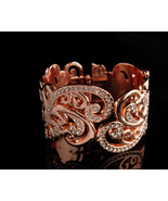 Couture Rhinestone Bracelet - Wide clamper hinged bangle - rose gold pla... - $95.00