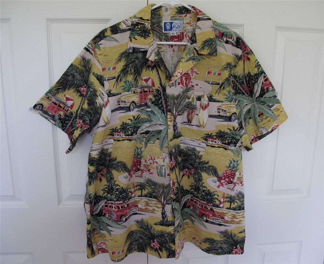 Primary image for Vintage RJC Hawaiian Shirt XL Woody Station Wagon Classic Cars Cotton Surf Board