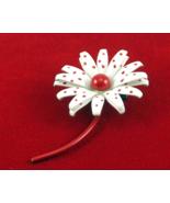 Vintage retro enamel flower power pin red and white polka dot brooch  - $25.00