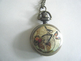 Steam Punk Mini Quartz Pocket Watch Necklace Bicycle Design New With Tag - $19.75
