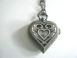 Steam Punk Quartz Pocket Watch Necklace Heart Shape New With Tag - $19.75