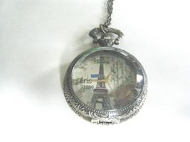 Steam Punk Pocket Watch Necklace Eiffel Tower Ornate Quartz New With Tag - $21.73