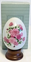 Vintage Avon Summer's Roses Porcelain Collectible Egg 1988 w/stand & box... - $12.16