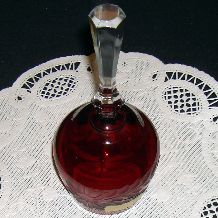 Bell Etched Crystal made in West Germany Red Rosey color