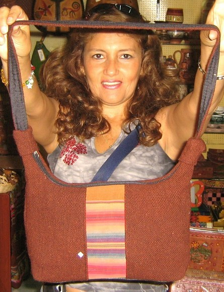 Ethnic brown handbag from Peru