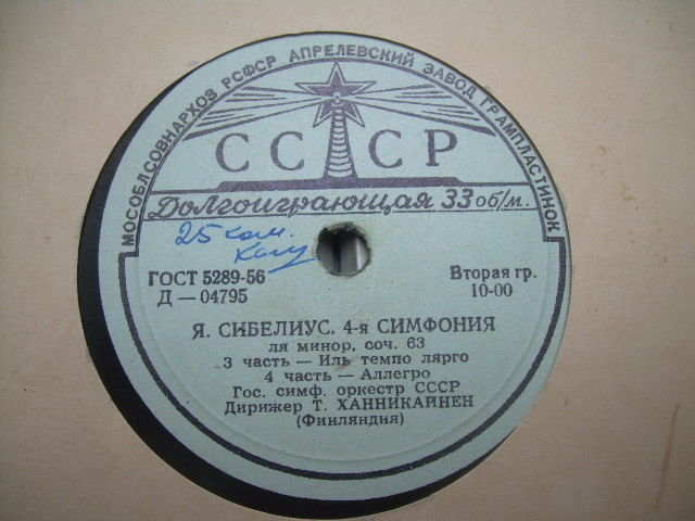 "Primary image for Vintage Soviet Russian Ussr J. Sibelius Symphony No.4 7"" CCCP LP About 1960"