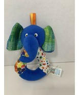 Eric Carle plush blue elephant baby toy rattle ring stars 2012 Kids Pref... - $5.93