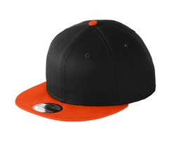 New Era 9Fifty Flat Brim Snapback Hat Cap Blank Black Team Orange 950 new - $12.00