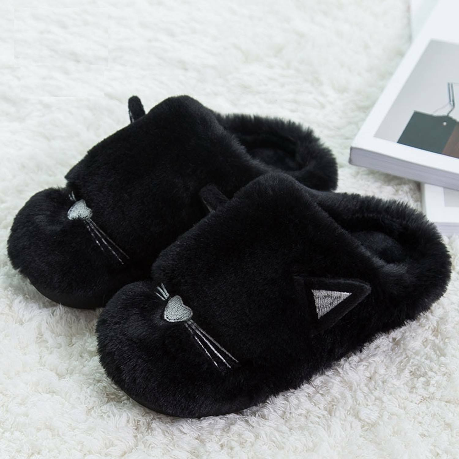 Plush Cat Indoor Slippers Furry Women Men Couple Cute Soft Carton Lovely Love S