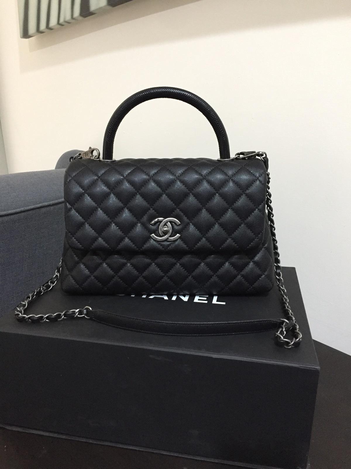 d85810c27a6d1f 100 Auth New Chanel 2016 2017 Medium Python Coco Handle Bag Black