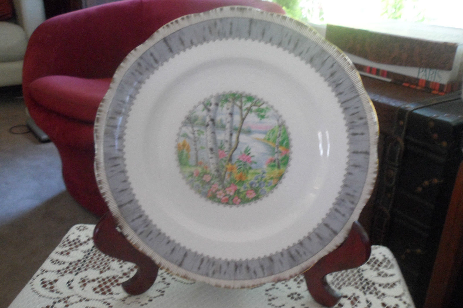 Primary image for ROYAL ALBERT SILVER BIRCH  round serving plate.  Discontinued. Exc condition