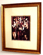 """""""PARTY NIGHT"""" Double Matted Bronze Color Wooden... - $18.26"""