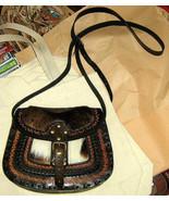 Handmade pure leather Handbag,ethnical look  - $115.00