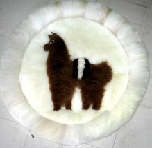 Alpaca fur rug for decoration,40 cm (15.6)diameter - $64.00