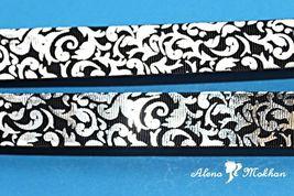 "5 yards 7/8"" Silver Foil Filigree Damask on Black Printed Grosgrain Ribbon - $5.00"