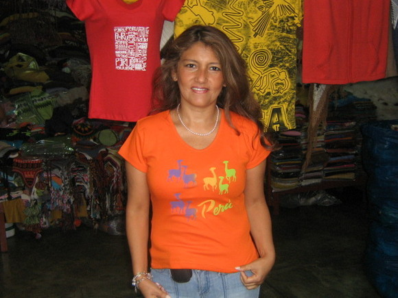 Womens Peru T-shirt ,all sizes available,pure cotton, Orange