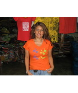 Womens Peru T-shirt ,all sizes available,pure cotton, Orange - $32.00