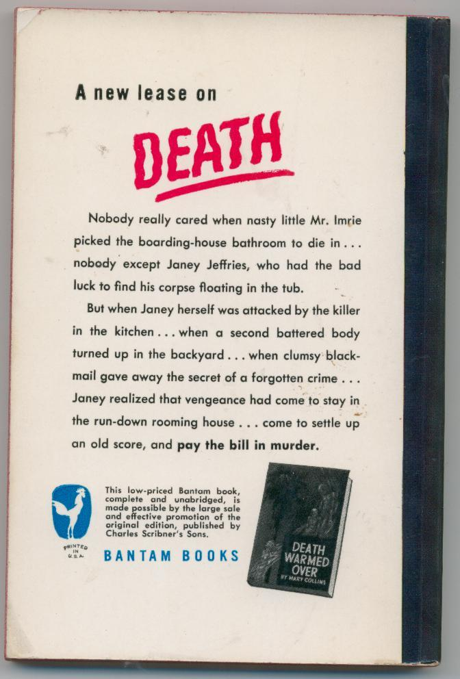 DEATH WARMED OVER by Mary Collins  1949  1st pb  mystery