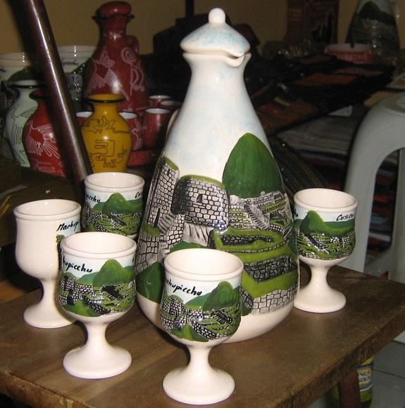 Ethnic ceramic carafe and 6cup , handpainted in Peru