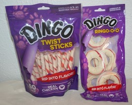 DINGO Lot of 2 Rawhide Twist Sticks (50) and Ringo-o-o (5) Chicken Best ... - $5.00