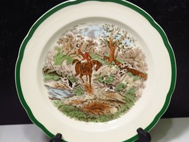 """Spode 10.5"""" Dinner Plate The Hunt by Herring Drawing THE DINGLE Green Rim - $23.76"""