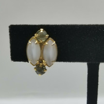 Cats Eye And Rhinestone Gold Tone Vintage Screw Back Earrings - $18.80