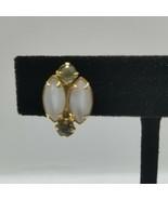 Cats Eye And Rhinestone Gold Tone Vintage Screw Back Earrings - $18.80