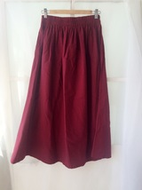 Women Pleated Long Linen Cotton Skirts Outfit Casual Skirt - Burgundy, One Size image 5