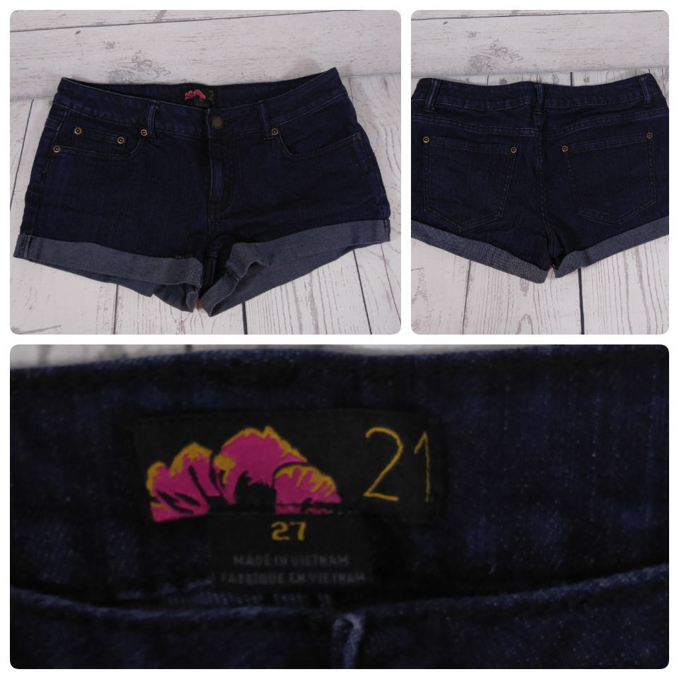 Primary image for Forever21 Denim Jeans Shorts Color Dark Wash Blue Size-27  *C014