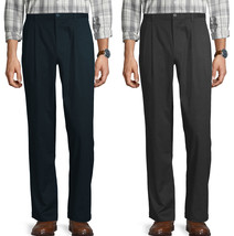 George Men's Classic Fit Sorbtek Pleated Wrinkle Resistant Casual Dress Pant