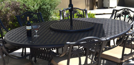 "Patio dining set 10 piece cast aluminum Nassau table 70 x 100"" Palm tree chairs image 2"