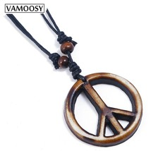Vintage Leather Collier Cross Peace Punk Men Necklaces & Pendants Body Choker Ch - $8.07