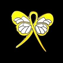 Yellow Awareness Ribbon Butterfly Pin Cancer Cause Support Inspirational New image 4