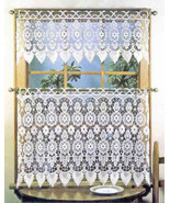 """Medallion Macrame Valance, 35"""" wide by 12"""" long, White, Lorraine Home Fa... - $24.49"""