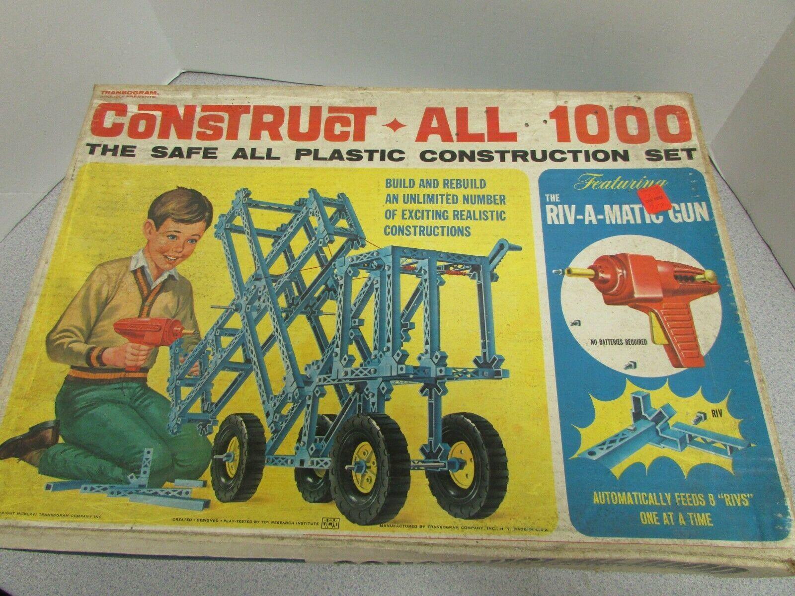 Vtg Transogram 1966 Construct-All 1000 Super pour Pièces Complet Boîte