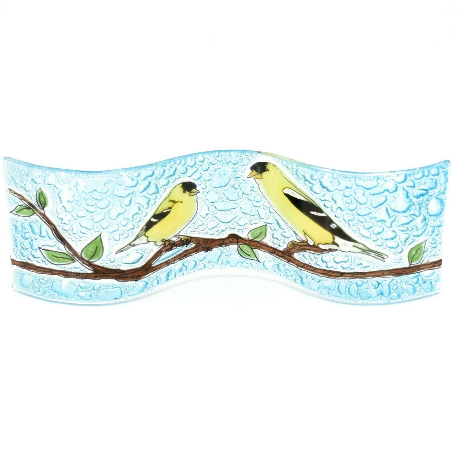 Fused Art Glass Goldfinch Yellow Finch Wavy Decor Sun Catcher Handmade Ecuador