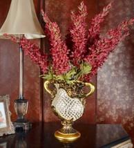 "13""H Rose Gold Crystal Wide Mouth Decorative Handcrafted Vase Urn Bowl - $114.50"