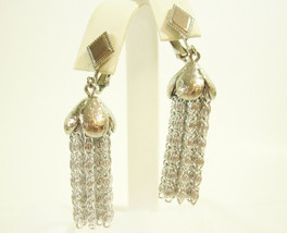 Sarah COVENTRY Dangle Chain Silver Plate Clip on Silky Tassel Earrings Vintage - $13.81