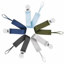 Ali+Oli Modern Pacifier Clips Set of 5 Soft Satin Polyester Soothie Leas... - $24.74
