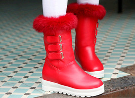 PB183 awesome pointy wedge booties, hair top,, US Size 4-10.5, red - $68.80