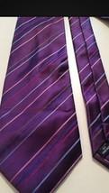 Kenneth Cole Men's Tie Purple Silk Stripe Men's Neck Tie - $8.90