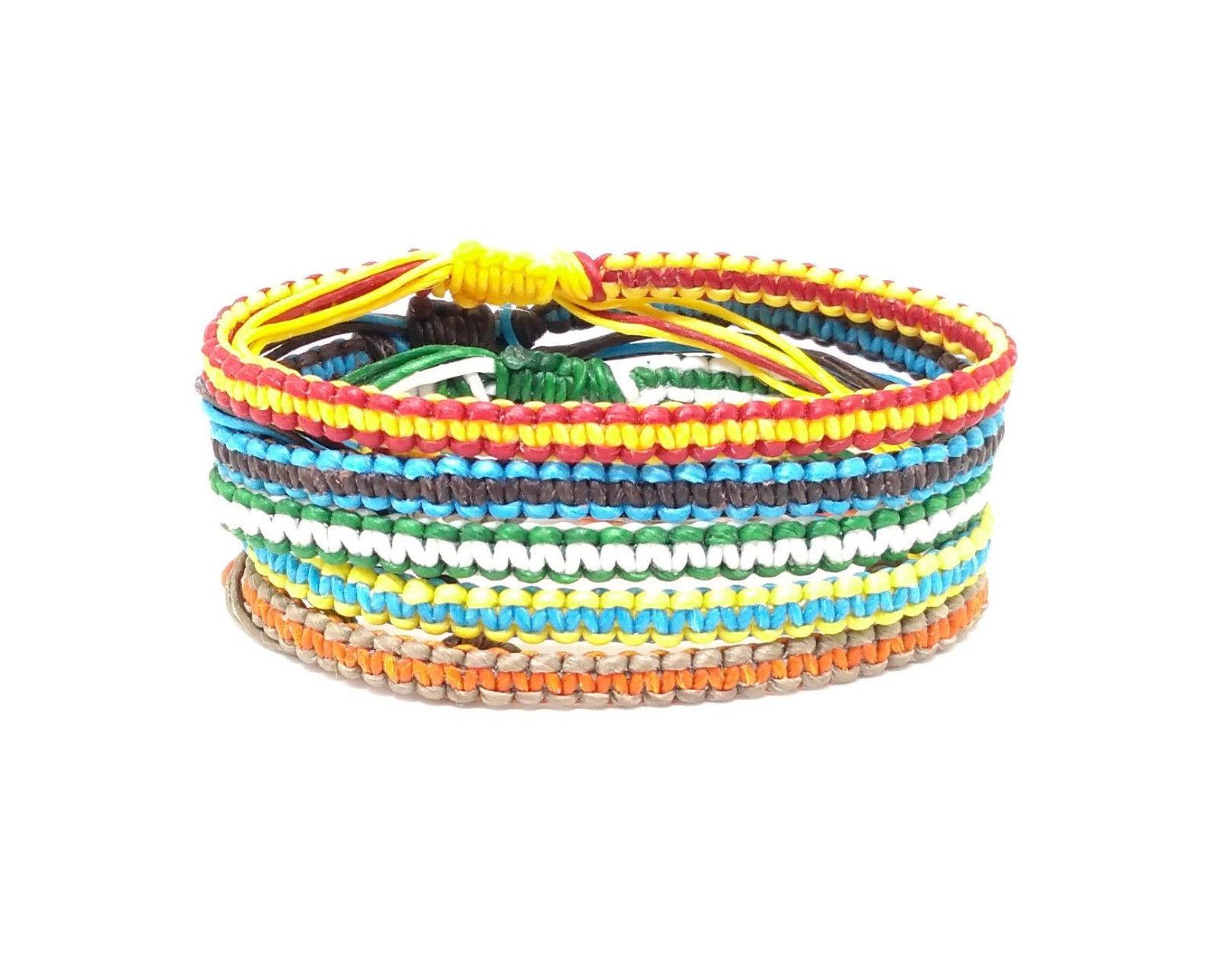 """The """"Stripe"""" Men's Waxed Cotton Thai Wristband Bracelet"""