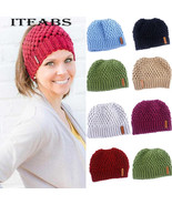 Female Knit Hat Ponytail Beanie Winter Cap For Crochet Knit Cap Holey Wa... - $11.56